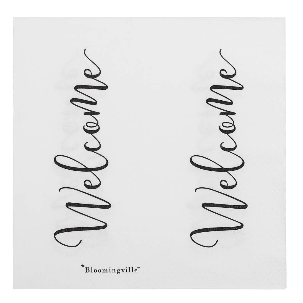 BLOOMINGVILLE welcome napkin paper white 16x