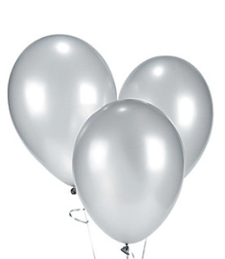 AF 10 silver latex balloons 26 cm