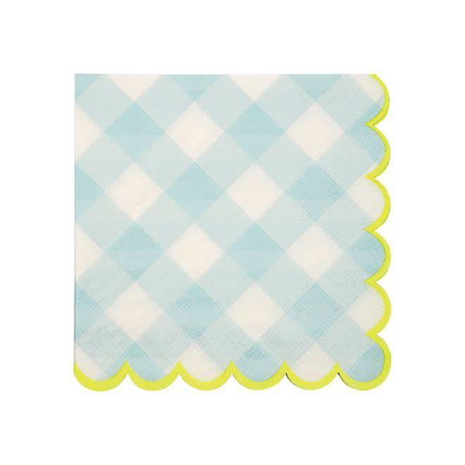 MERIMERI Blue gingham napkins small
