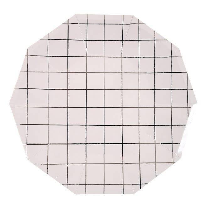 MERIMERI Silver grid large plates