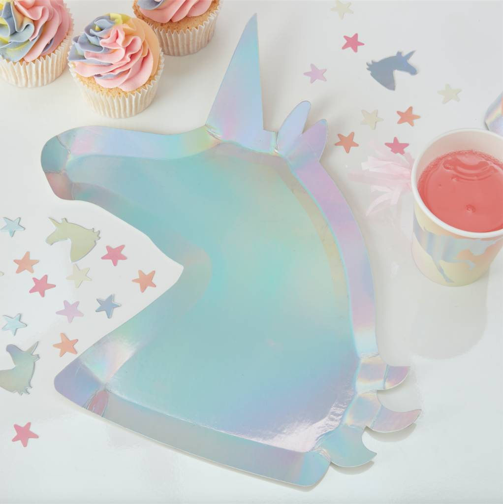 GINGERRAY holographic unicorn shaped paper plates- make a wish
