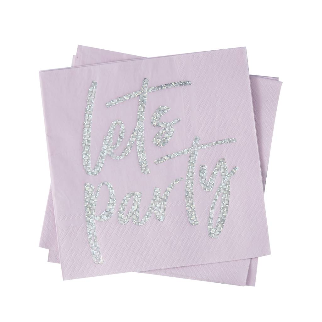 GINGERRAY iridescent foiled lets party paper napkins - good vibes
