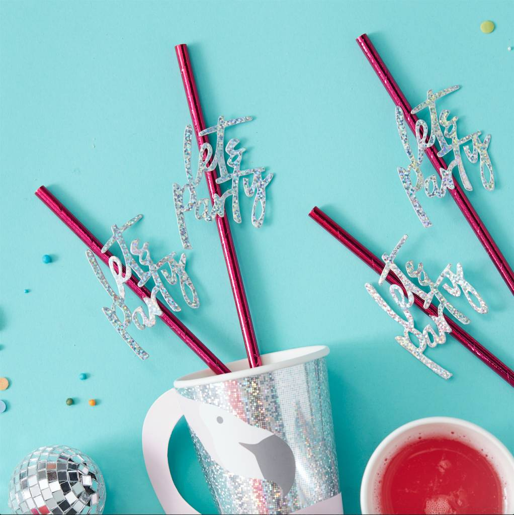 GINGERRAY hot pink foiled lets party paper straws - good vibes