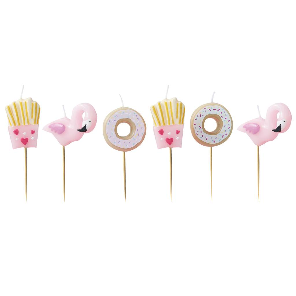 GINGERRAY fries donut and flamingo shaped candles kit - good vibes