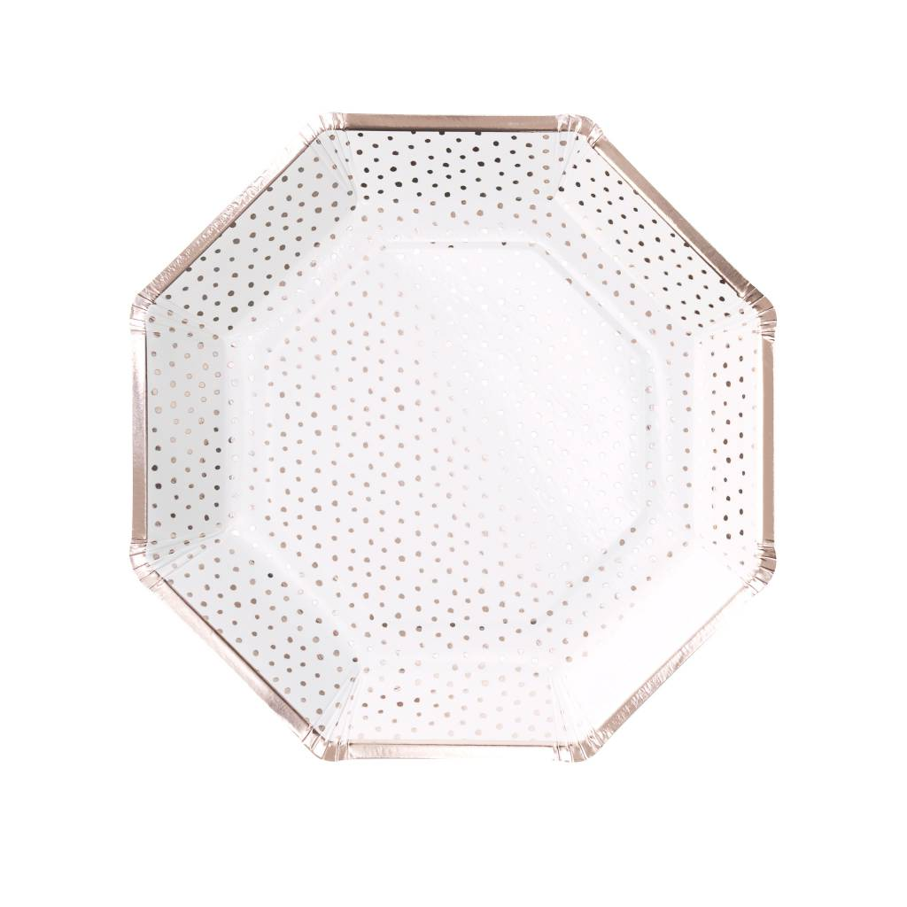 GINGERRAY rose gold foiled spotty paper plate - pick & mix