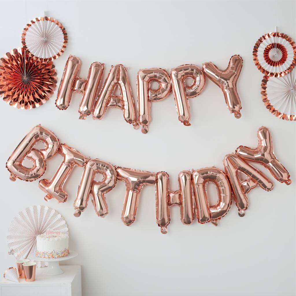 GINGERRAY rose gold happy birthday balloon bunting - pick & mix