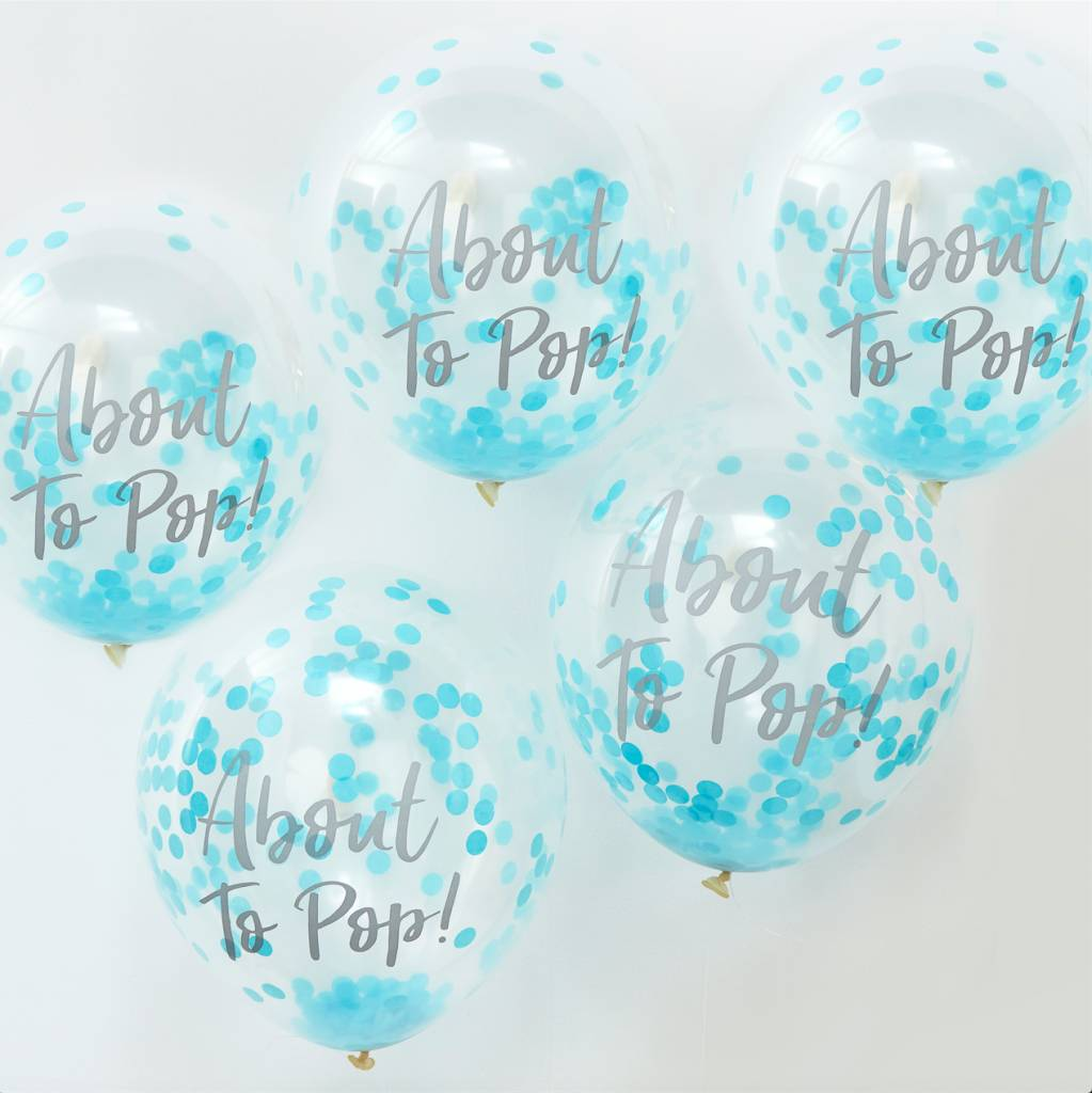 GINGERRAY about to pop! printed blue confetti balloons - oh baby!