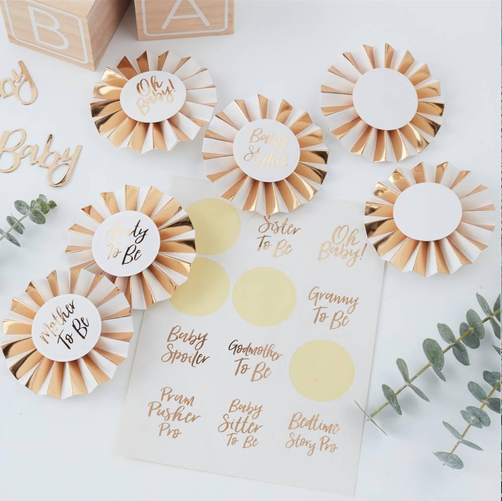 GINGERRAY gold foiled baby shower badge kit - oh baby!