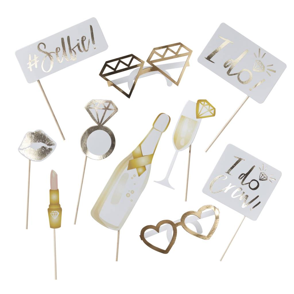 GINGERRAY gold foiled photoboot props - I do crew