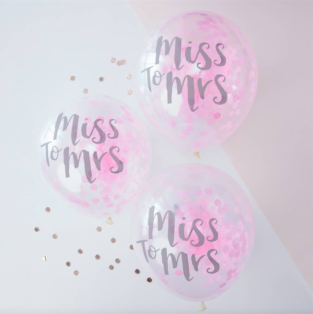 GINGERRAY miss to mrs printed pink confetti balloons - team bride
