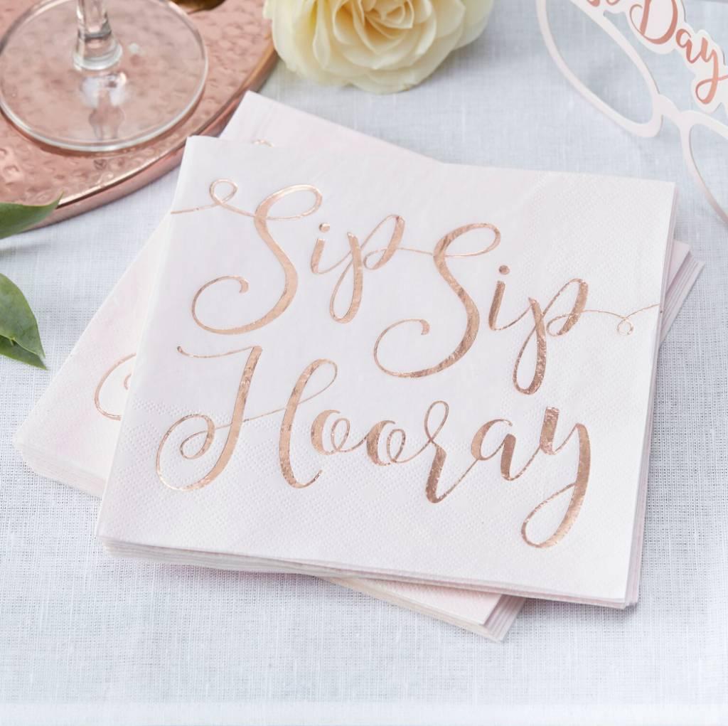 GINGERRAY rose gold foiled sip sip hooray paper napkins - beautiful botanics