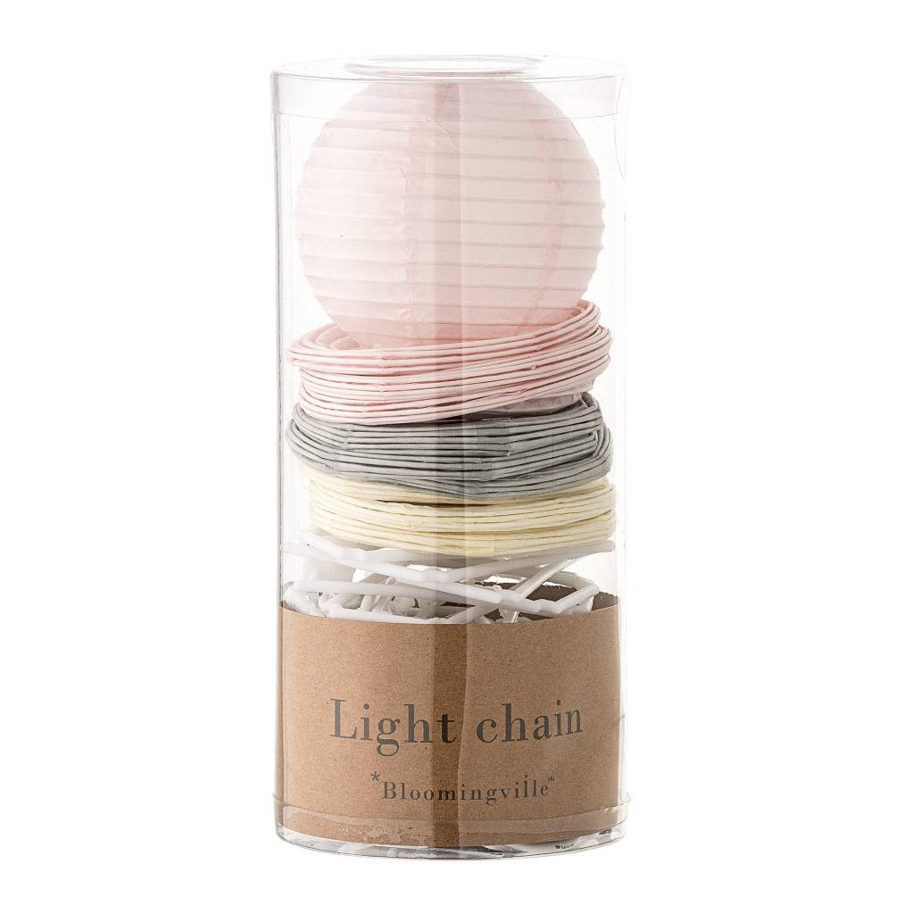 BLOOMINGVILLE light chain soft pink grey mini paper globes