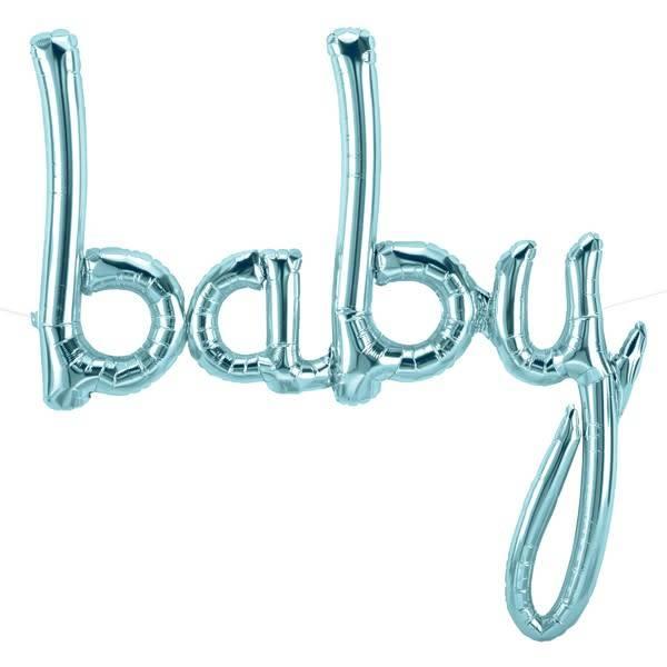 SMP baby script pastel blue foil balloon 86 cm