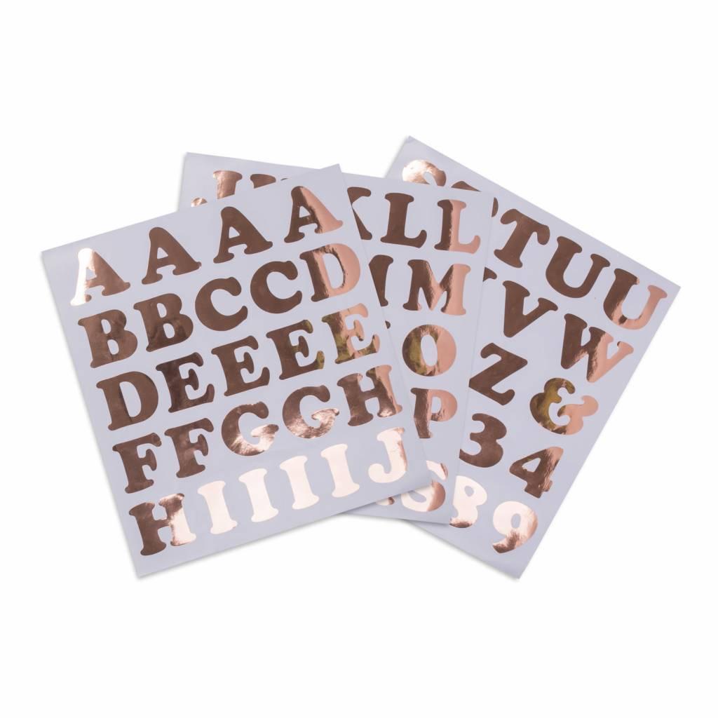 AF 71 alphabet & number stickers rose gold 6 cm each