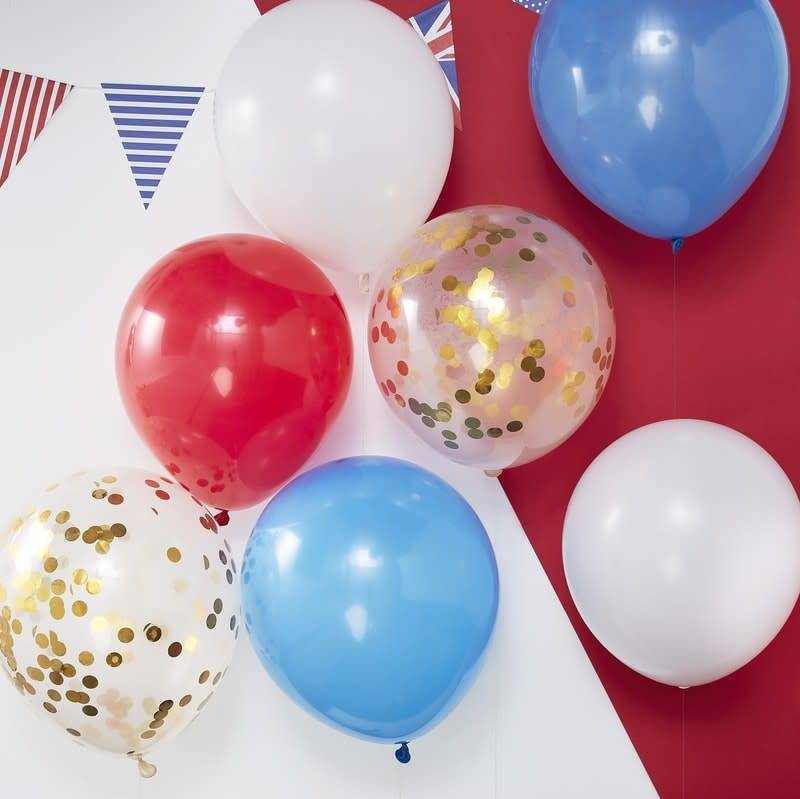 GINGERRAY RED WHITE BLUE & GOLD CONFETTI BALLOONS - PARTY LIKE ROYALTY