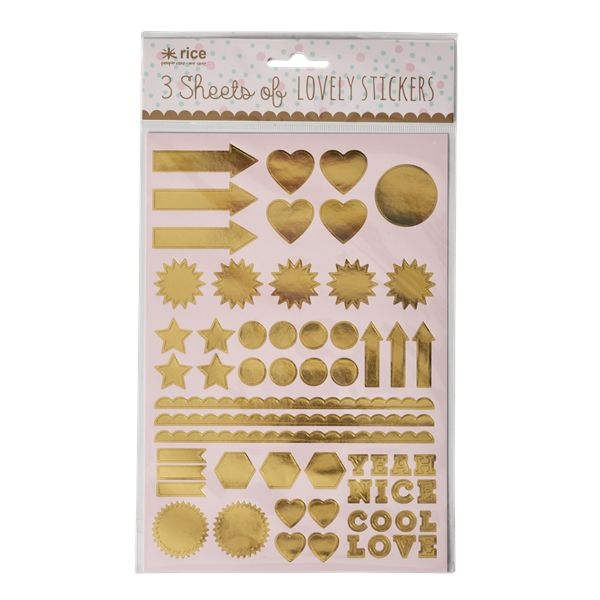 RICE symbol stickers gold