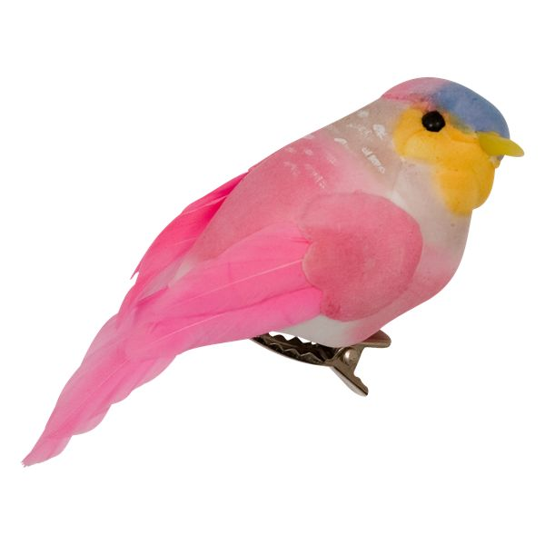 RICE decoration bird with clip pink