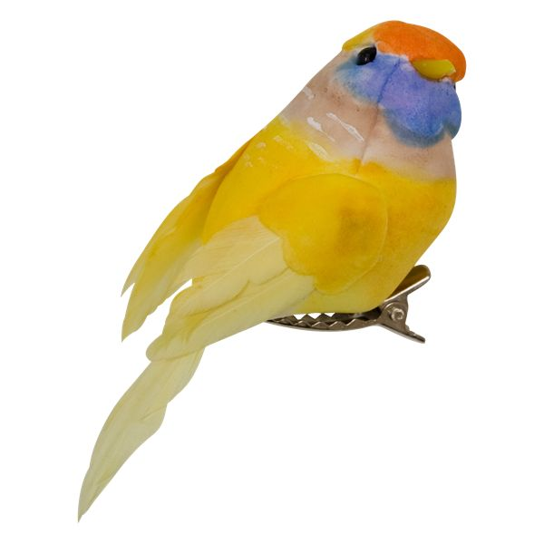 RICE decoration bird with clip yellow