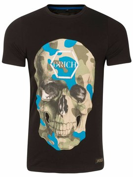 D-Rich black shirt blue green skull no strass
