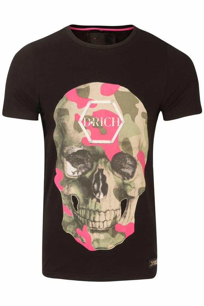 D-Rich black shirt pink green skull no strass