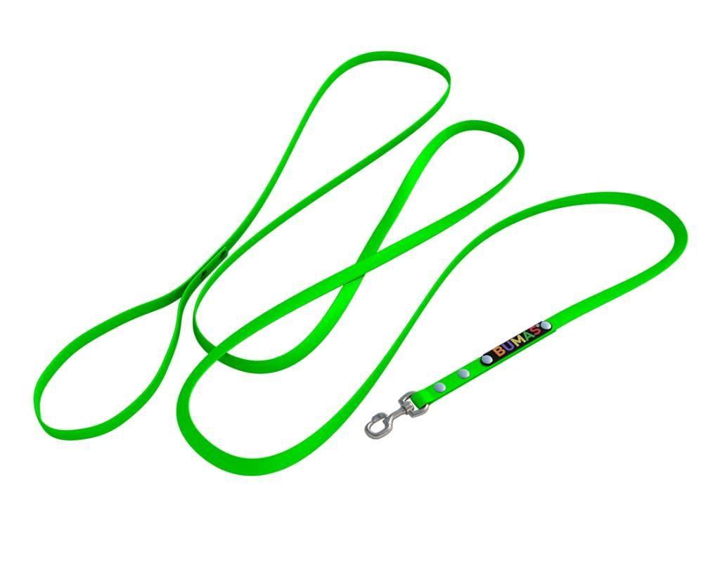 BUMAS - das Original. BUMAS - easy going - leash made of BioThane® in neon green