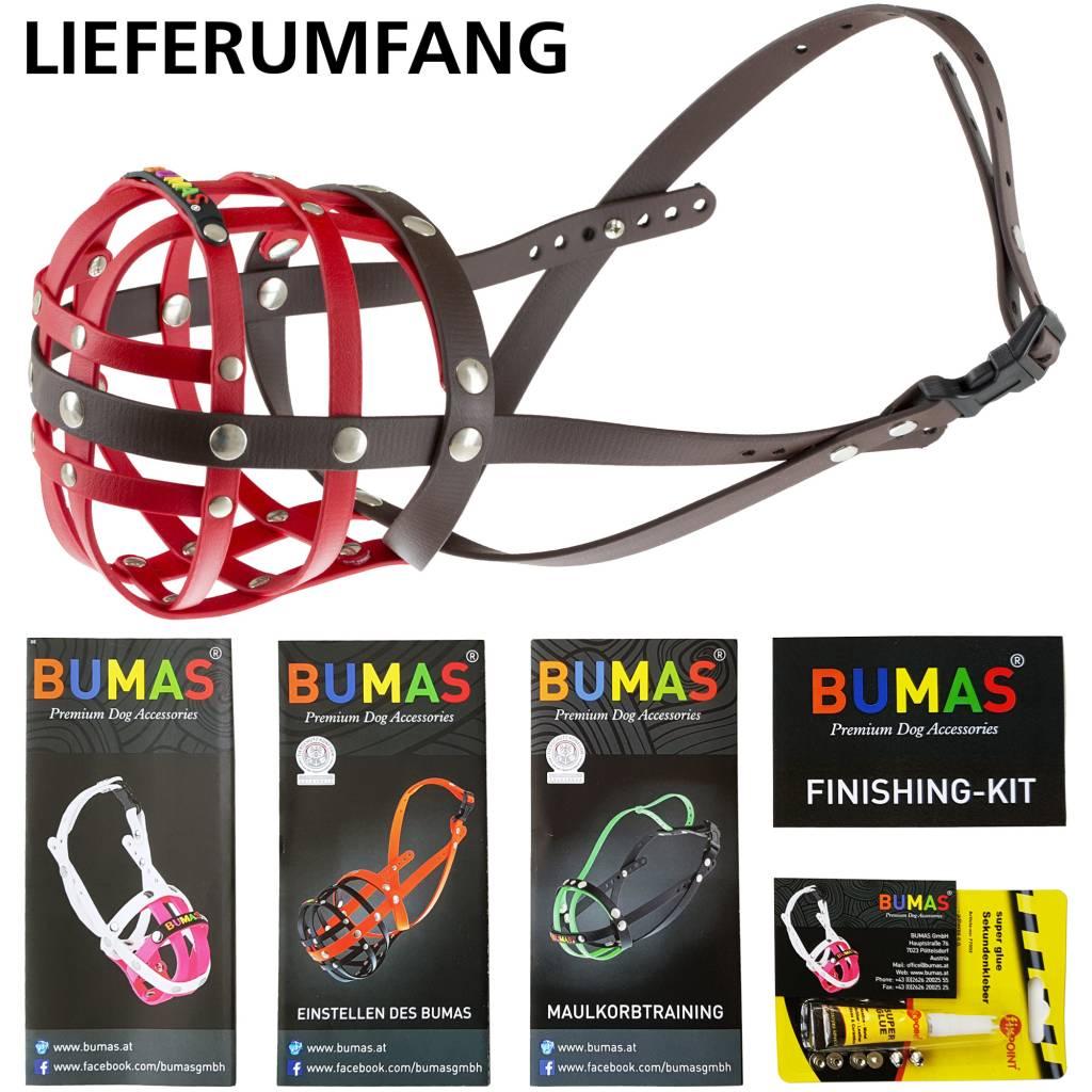 BUMAS - das Original. BUMAS Maulkorb für Golden Retriever aus BioThane®, rot/braun