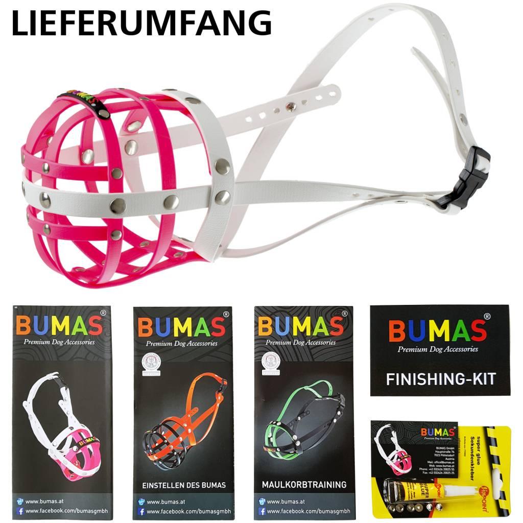 BUMAS - das Original. BUMAS Maulkorb für Golden Retriever aus BioThane®, pink/weiß