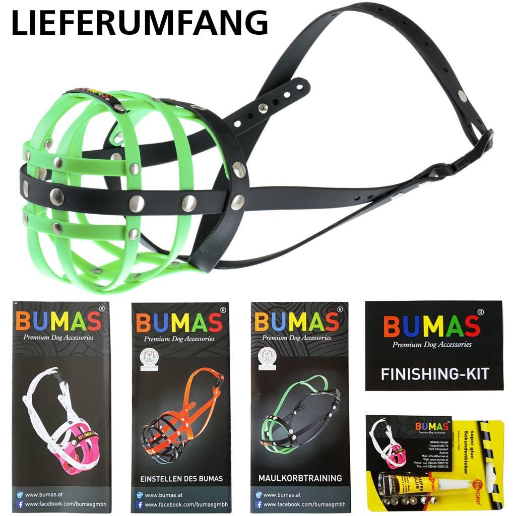 BUMAS - das Original. BUMAS Muilkorf voor Sint-Bernhard uit BioThane®, neongroen/zwart