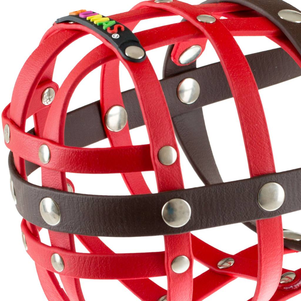 BUMAS - das Original. BUMAS Muzzle for St. Bernards made of BioThane®, red/brown