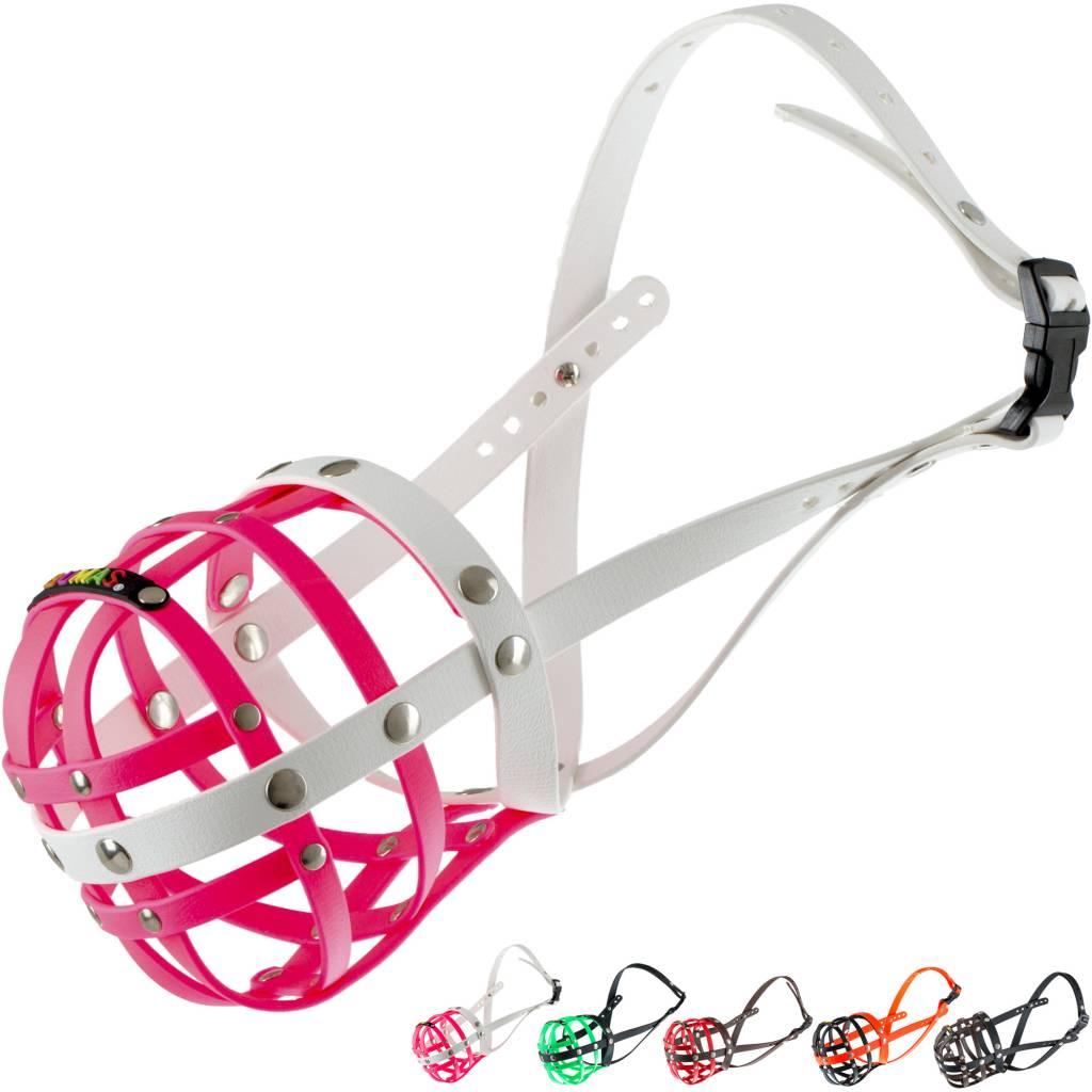 BUMAS - das Original. BUMAS Muzzle for Dalmatians made of BioThane®, pink/white
