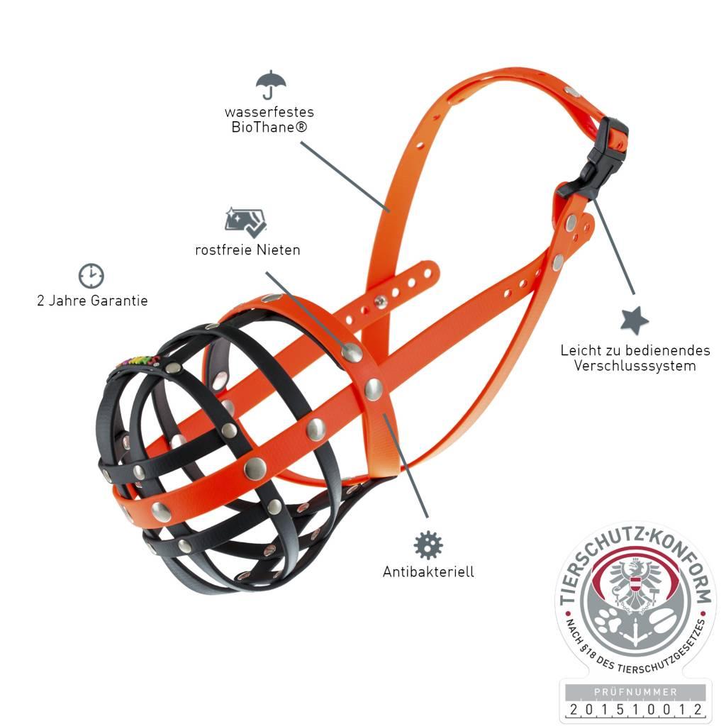BUMAS - das Original. BUMAS Muilkorf voor Border Collie uit BioThane®, zwart/oranje