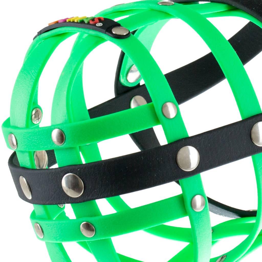 BUMAS - das Original. BUMAS Muzzle for French Bulldogs made of BioThane®, neon green/black