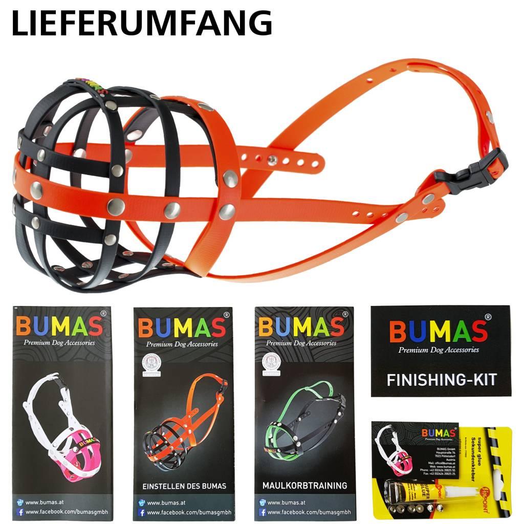 BUMAS - das Original. BUMAS Muzzle for French Bulldogs made of BioThane®, black/neon orange