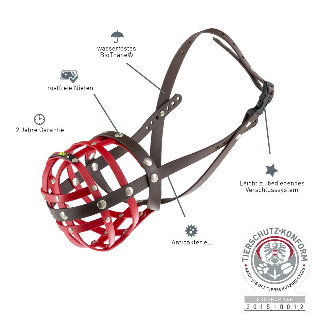 BUMAS - das Original. BUMAS Muzzle for American Staffordshire Terriers made of BioThane®, red/brown