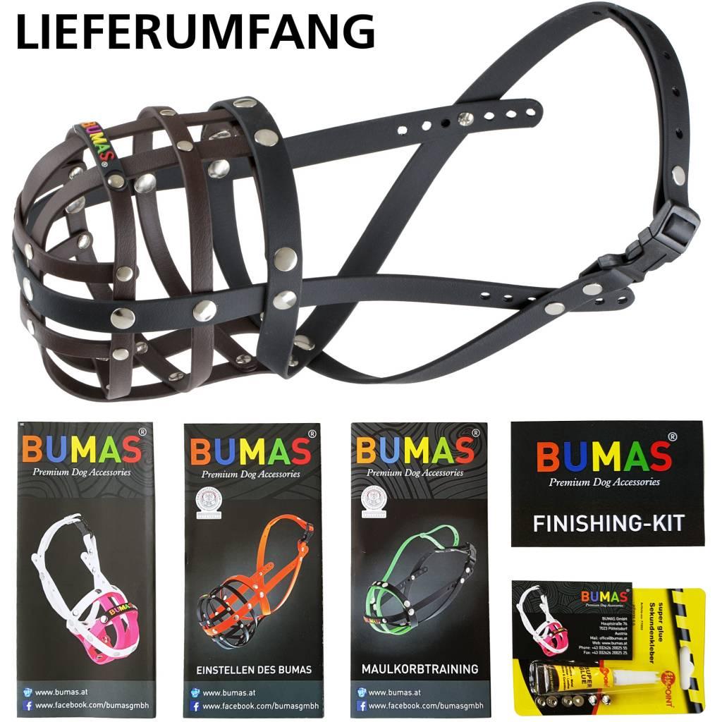 BUMAS - das Original. BUMAS Maulkorb für Französische Bulldogge aus BioThanne®, braun/schwarz