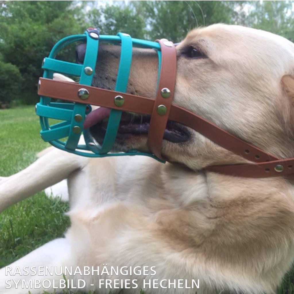 BUMAS - das Original. BUMAS bozal a medida de BioThane® para un Bulldog, negro/naranja neón