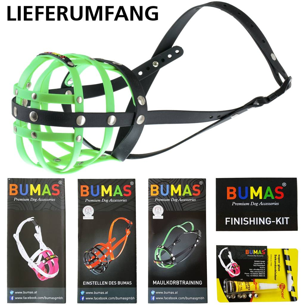 BUMAS - das Original. BUMAS Muzzle for Hovawarts made of BioThane®, neon green/black