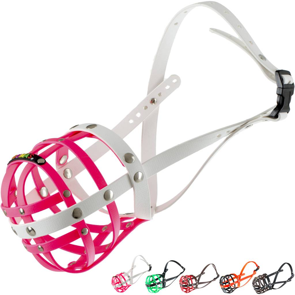 BUMAS - das Original. BUMAS Muzzle for Hovawarts made of BioThane®, pink/white