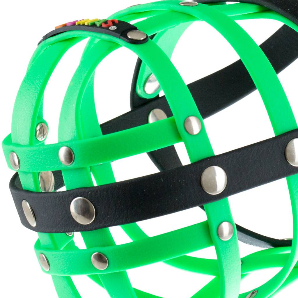 BUMAS - das Original. BUMAS Muzzle for American Staffordshire Terriers made of BioThane®, neon green/black