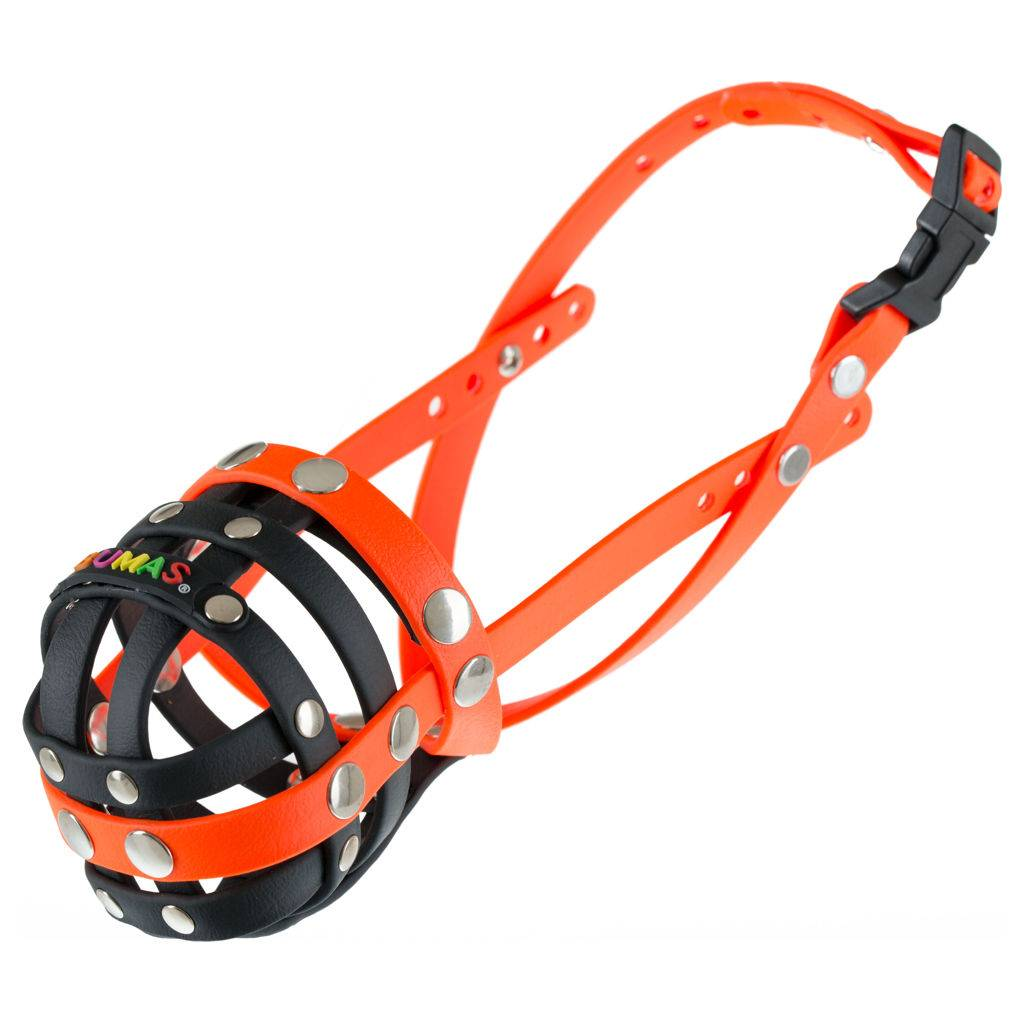 BUMAS - das Original. BUMAS muzzle made of Biothane® Size 4 in black/neon orange (U 24cm / L 8cm)