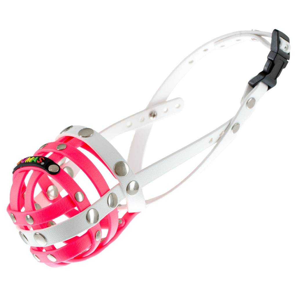BUMAS - das Original. BUMAS muzzle made of Biothane® Size 5 in pink/white (U 26cm / L 9cm)