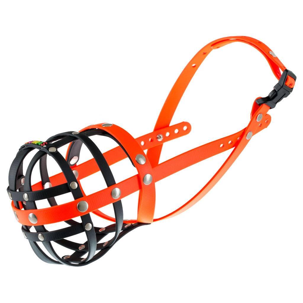BUMAS - das Original. BUMAS muilkorf van Biothane® maat 11 in zwart/oranje O 40cm / L 12cm