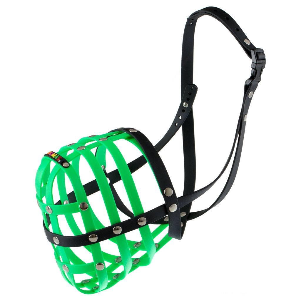 BUMAS - das Original. BUMAS bozal de BioThane® nr. 12 en verde neón/negro (C 50cm / L 13cm)