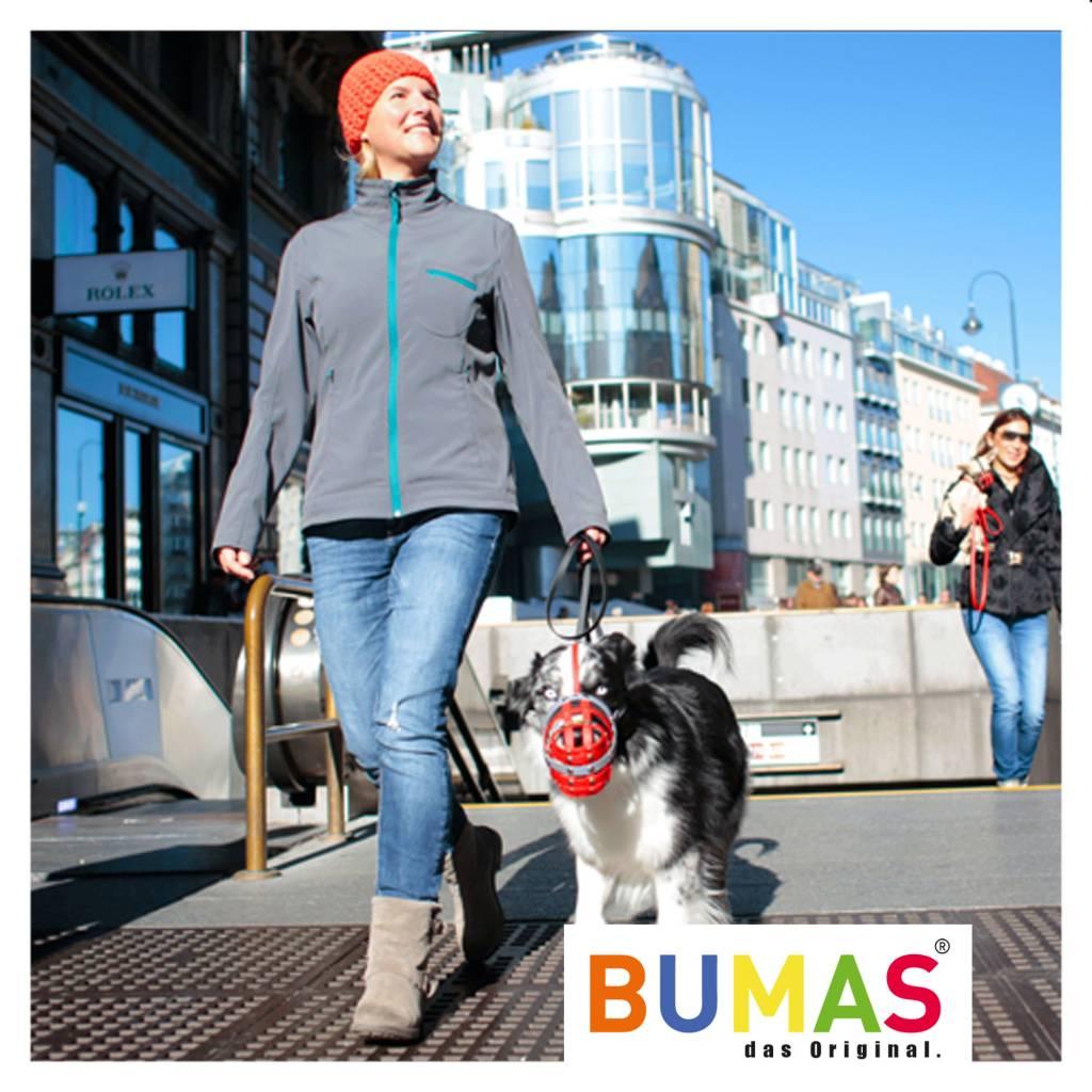 BUMAS - das Original. BUMAS Maulkorb für Australian Shepherd aus BioThane®, pink/weiß