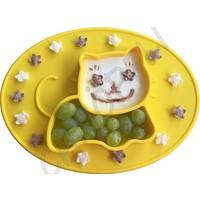 """Chnöpfli Mini Silikon Essmatte """"Katze"""" gelb"""