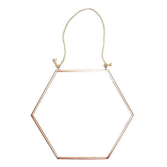 Kupferfarbener Hexagon Spiegel
