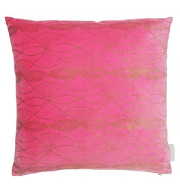 Pink Velvet Cushion with Gold Prints