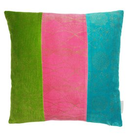 Colourful Velvet Patchwork Cushion with Gold Prints