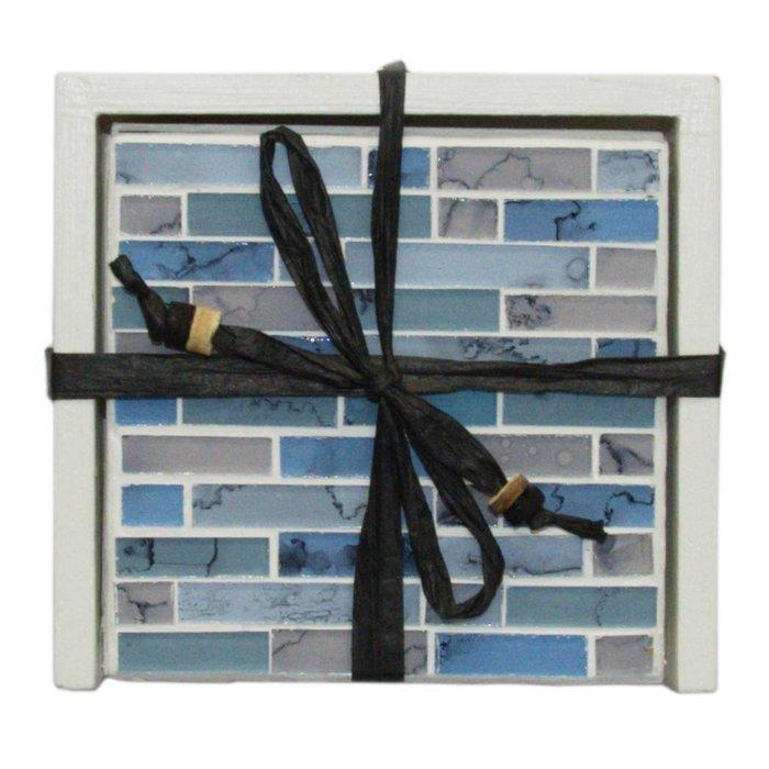 Mosaik Untersetzer in Blautönen, 4er Set