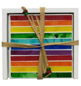 Mosaik Untersetzer in Regenbogenfarben, 4er Set